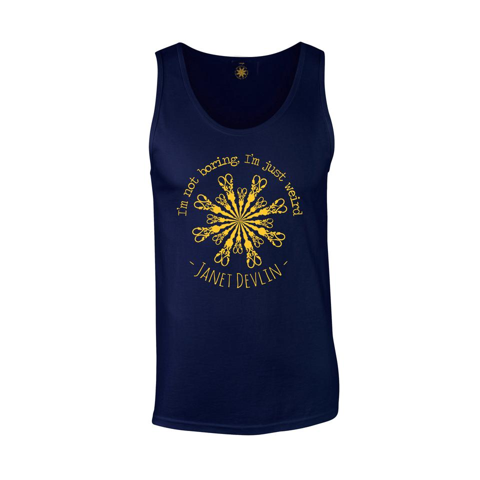 'Scissors' Vest Top - In Dark Navy