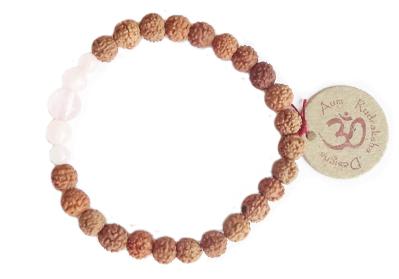 Aum Rudraksha Rose Quartz Bracelet